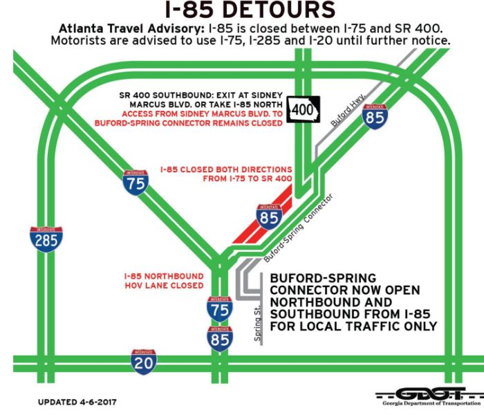 Map Of I 85 Georgia.I 85 Detours Map 4 6 17 Georgia World Congress Center Authority