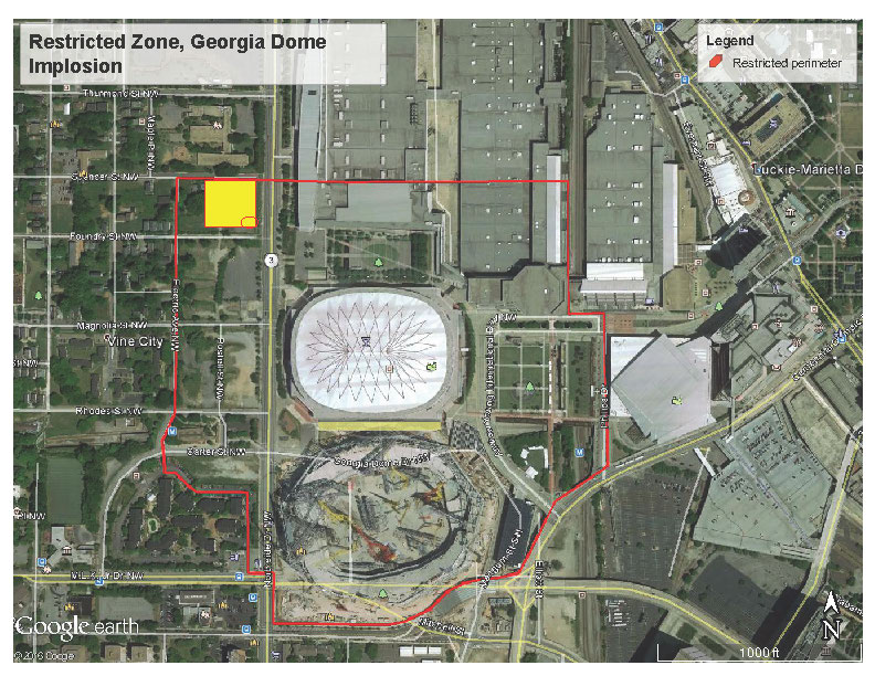 Map Of Georgia Dome.Dome Implosion Restricted Zone Map Georgia World Congress Center