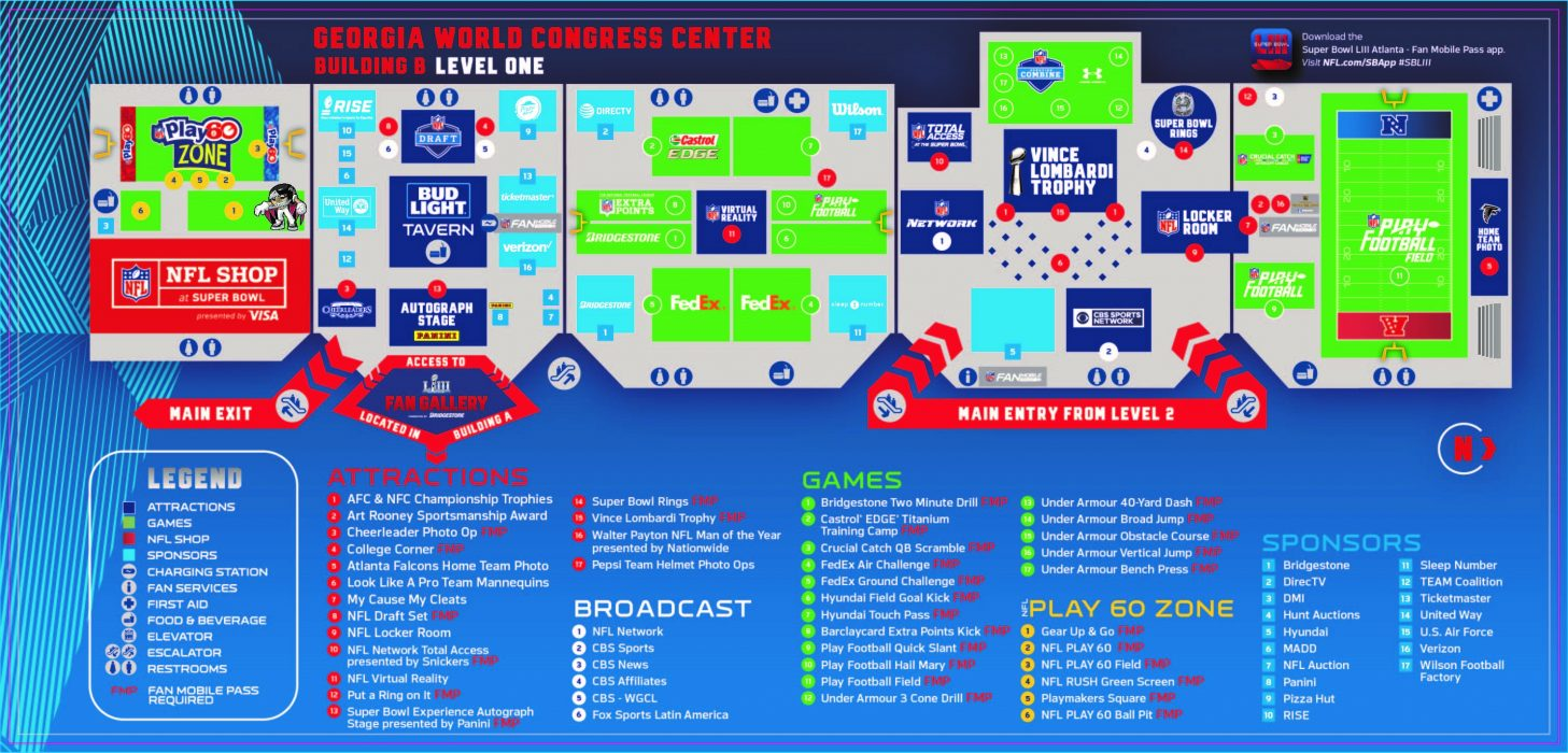 This map shows the layout of the Super Bowl Experience at the GWCC. 1fb4d8e8f